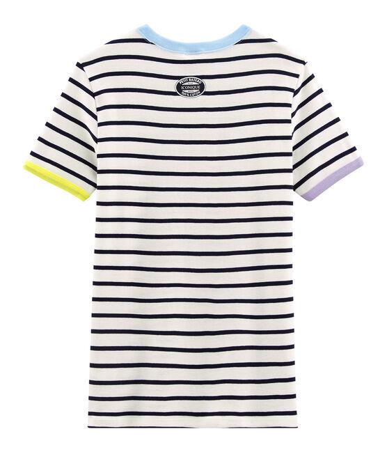 Ikonisches Damen-T-Shirt weiss Marshmallow / blau Smoking