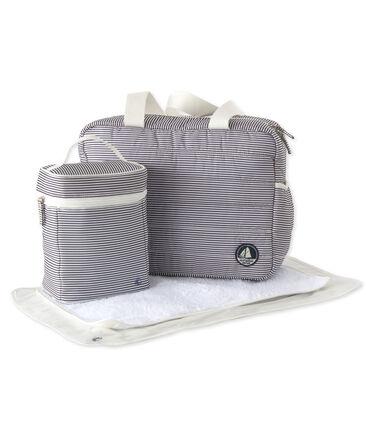 Set mit einer Wickeltasche, einer Kühltasche und einer Wickelunterlage aus Nylon. lot .