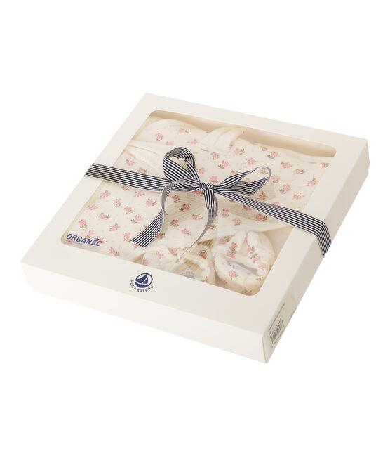 Set mit Badetuch und Babyschuhen aus Bouclé-Frottier und Rippstrick weiss Marshmallow / rosa Gretel