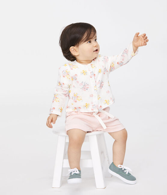 Gemusterter Baby-Mädchen-Cardigan weiss Marshmallow / weiss Multico