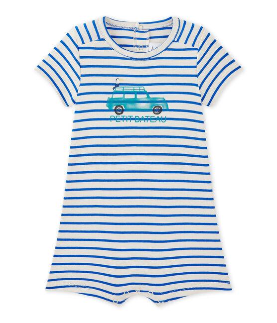 Kurzer Baby-Jungen-Einteiler mit Marinestreifen weiss Feta / blau Perse