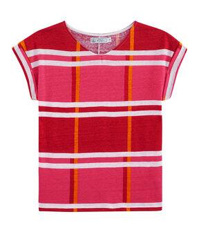 T-Shirt aus Leinen, Damen rosa Geisha / weiss Multico