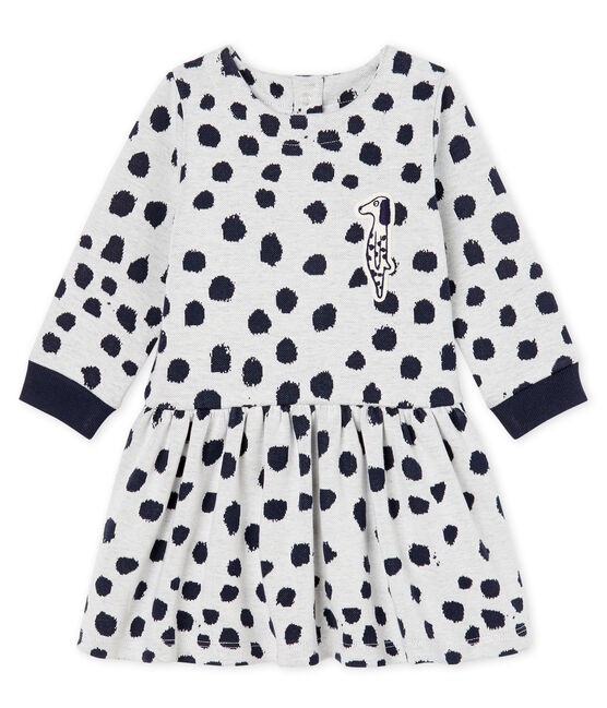 Jean-Jullien-Baby-Mädchenkleid mit langen Ärmeln MARSHMALLOW/DOTTIES
