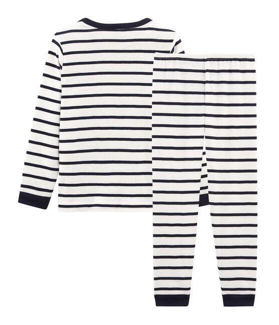 Rippstrick-Pyjama für kleine Jungen weiss Marshmallow / blau Smoking