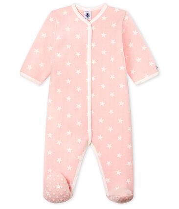 Baby-Pyjama zum Überziehen aus Fleece für Mädchen rosa Minois / weiss Marshmallow