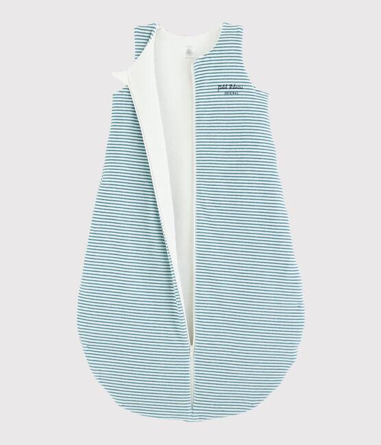 Gestreifter Baby-Schlafsack aus Rippstrick MARSHMALLOW/BRUME