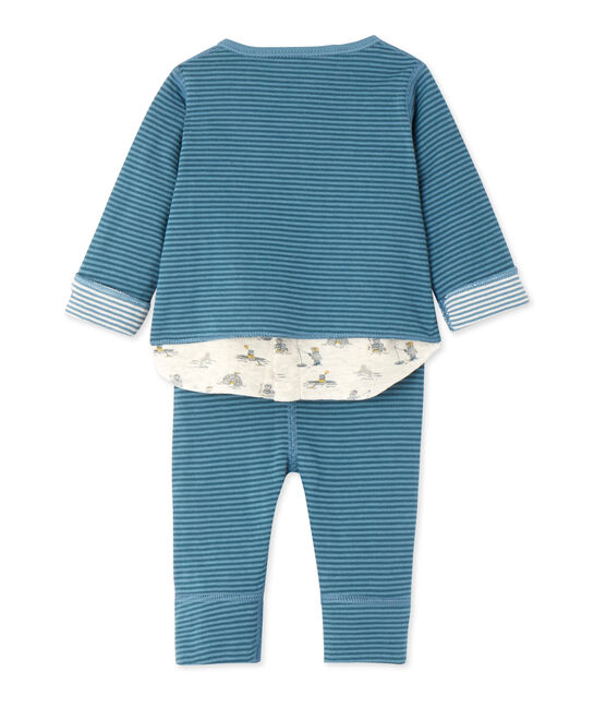 Dreiteiliges Baby-Jungen-Ensemble blau Atelier / blau Polochon