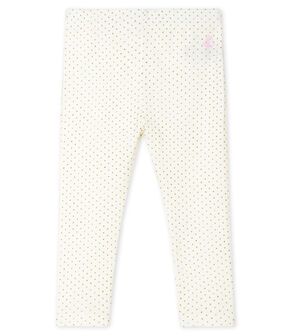 Bedruckte Baby-Mädchen-Leggings weiss Marshmallow / gelb Or