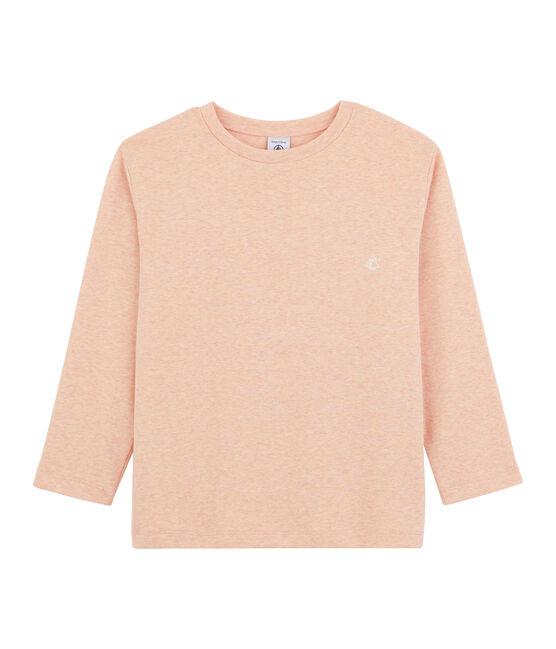 Langarm-T-Shirt für Jungen rosa Aster Chine