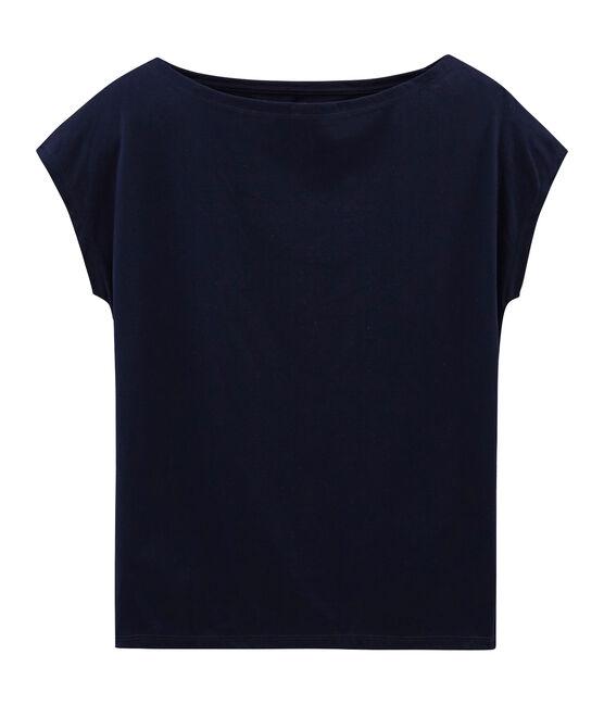 Kurzärmliges T-Shirt aus Sea Island-Baumwolle für Damen blau Marine