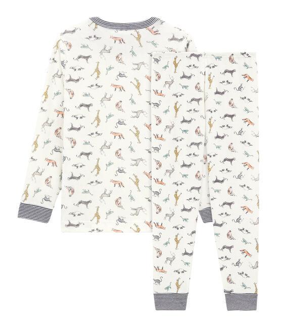 Rippstrick-Pyjama für Jungen weiss Marshmallow / weiss Multico