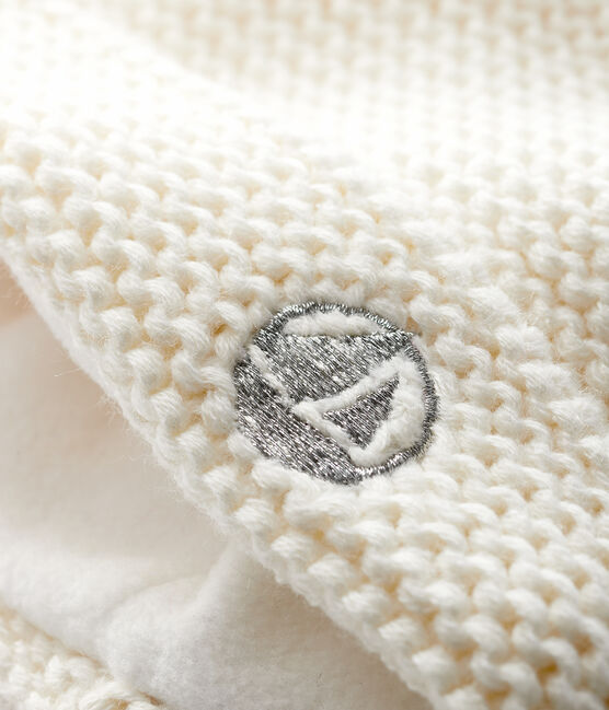 Baby-Mütze mit Bommel für Mädchen/Jungen weiss Marshmallow