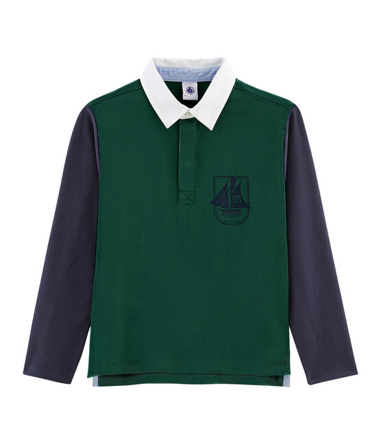 Rugby-Poloshirt für Jungen grün Sousbois / blau Smoking