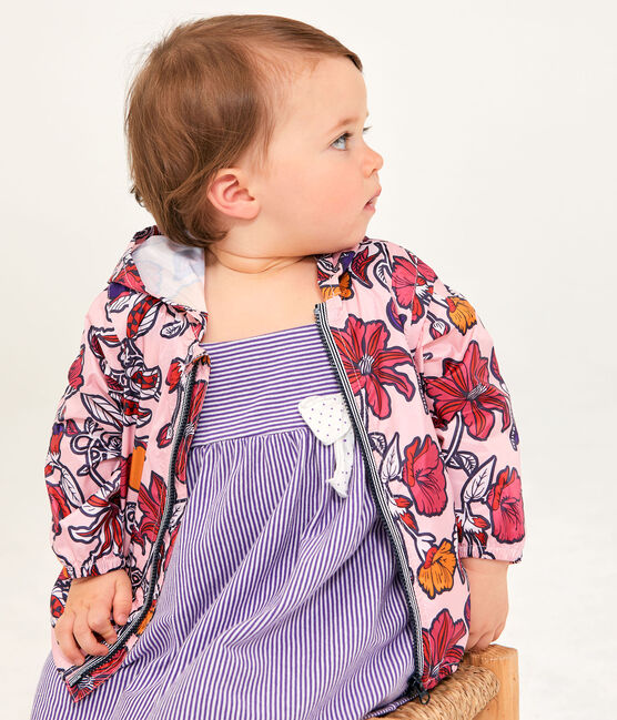 Baby-Windjacke Anti-UV LSF 50+, Unisex rosa Patience / weiss Multico