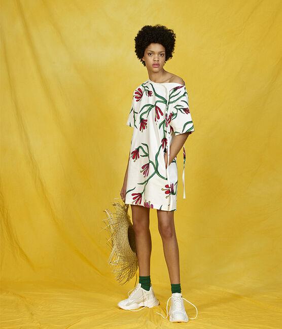 Kurzärmliges Kleid weiss Marshmallow / weiss Multico