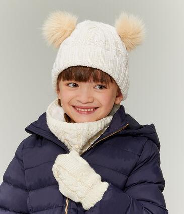 Kinderschlauchschal für Mädchen weiss Marshmallow / gelb Or