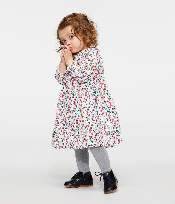 Langärmeliges gemustertes Babykleid für Mädchen weiss Marshmallow / weiss Multico