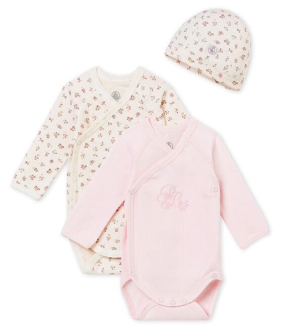Zwei Langarmbodys und Mütze für Neugeborene im Geschenkset lot .
