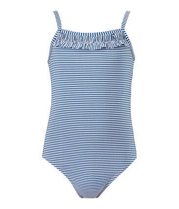 Gestreifter Mädchen-Badeanzug blau Perse / weiss Marshmallow