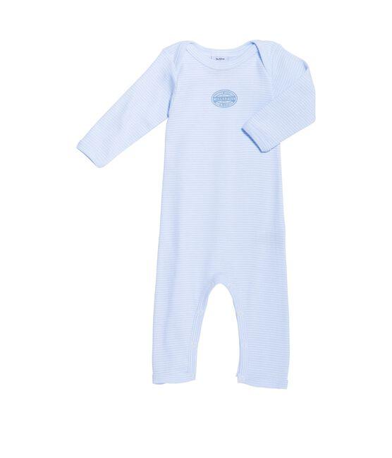Langer Baby-Body für Jungen, geringelt blau Fraicheur / weiss Ecume