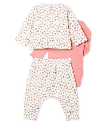 3-teiliges Baby-Set aus Rippstrick für Mädchen weiss Marshmallow / weiss Multico