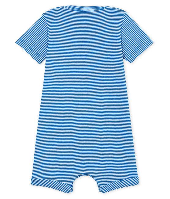 Baby-kurzoverall in ringelstreifenmuster jungen blau Riyadh / weiss Marshmallow