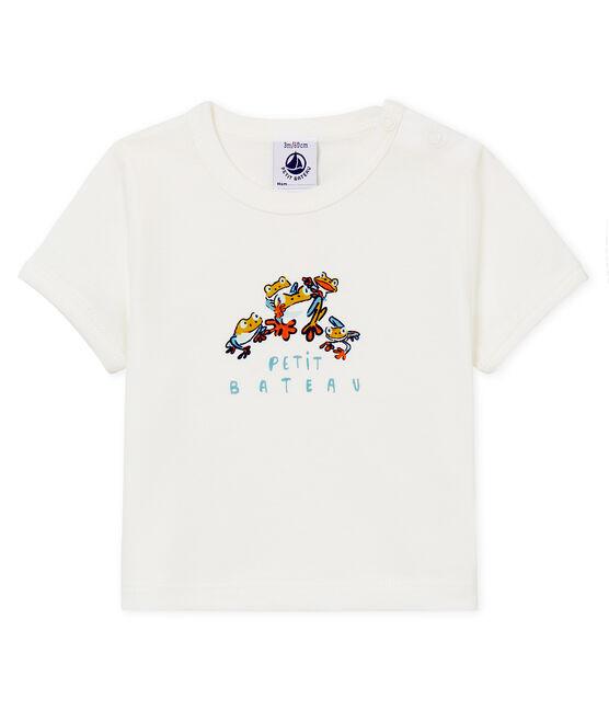 Kurzärmeliges baby-t-shirt mit motiv jungen weiss Marshmallow