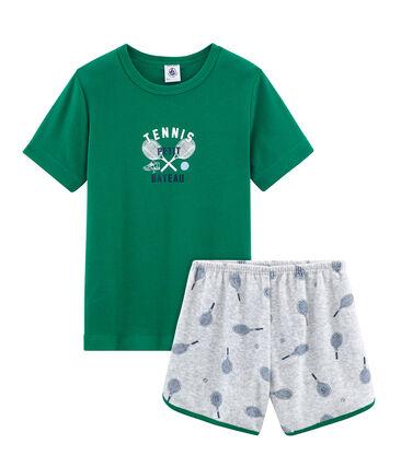 Pyjama aus aufgerautem Frottee für kleine Jungen grau Poussiere / weiss Multico