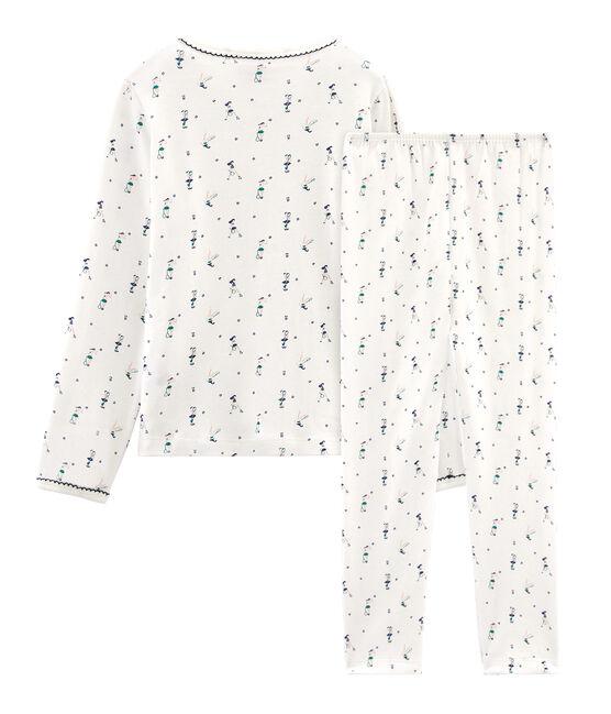 Rippstrick-Pyjama für kleine Mädchen weiss Marshmallow / weiss Multico