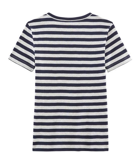 Ikonisches Damen-T-Shirt blau Smoking / grau Beluga