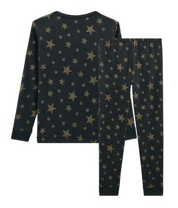 Sehr eng anliegender Rippstrick-Pyjama für kleine Mädchen grau Capecod / gelb Or