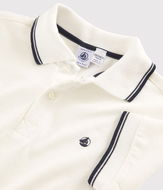 Kurzärmeliges Kinder-Polohemd für Jungen weiss Marshmallow