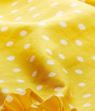Gepunkteter Baby-Mädchen-Badeanzug orange Fusion / weiss Marshmallow