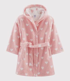 Bademantel aus Frottee mit Herz-Motiv für Mädchen rosa Charme / weiss Marshmallow