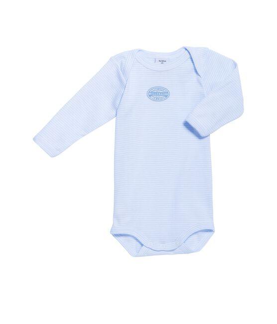 Baby-Body für Jungen, Langarm, geringelt blau Fraicheur / weiss Ecume