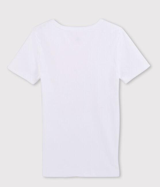 Kurzärmliges Herren-T-Shirt mit V-Ausschnitt weiss Ecume