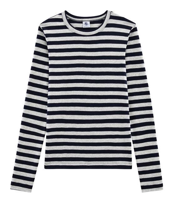 Emblematisches langärmliges T-Shirt für Damen blau Smoking / grau Beluga