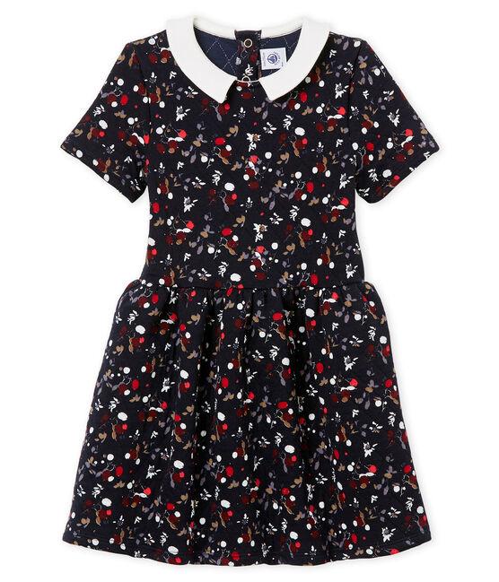 Kurzärmeliges Mädchen Kleid blau Smoking / weiss Multico
