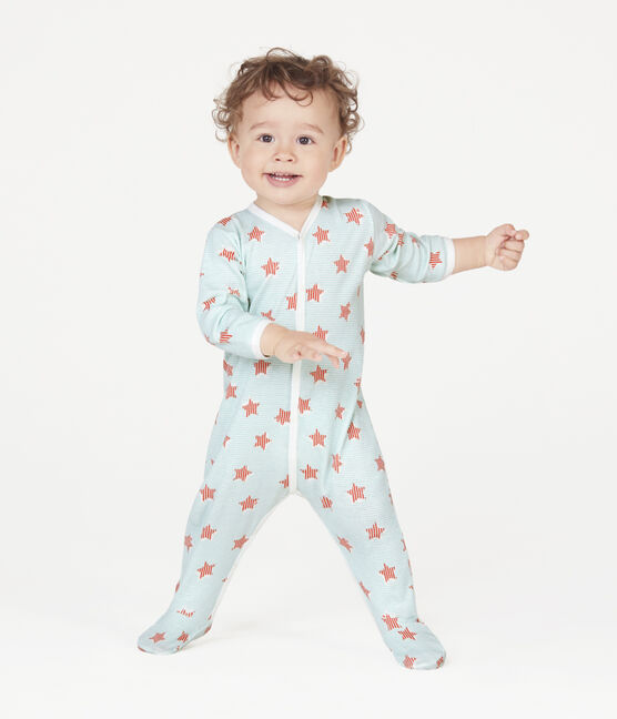 Baby-Strampler aus Rippstrick weiss Marshmallow / weiss Multico