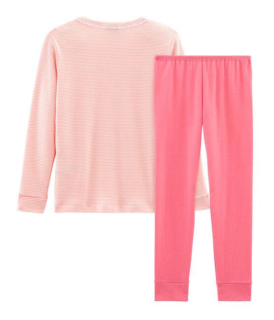 Sehr eng anliegender Rippstrick-Pyjama für kleine Mädchen rosa Rosako / weiss Marshmallow
