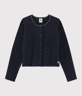 Kinder-Cardigan aus Wolle-Baumwoll-Mix für Mädchen blau Smoking