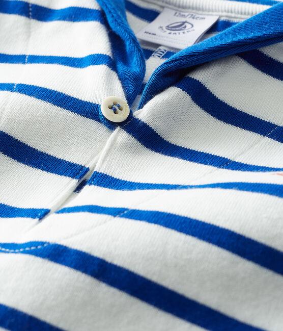 Gestreifter Baby-Spieler für Jungen weiss Marshmallow / blau Surf