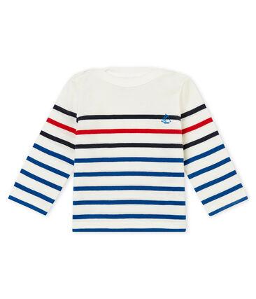 Baby Jungen tee-shirtmit platziertem Streifenmuster weiss Marshmallow / weiss Multico