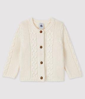 Cardigan für Babys aus Wolle und Baumwolle weiss Marshmallow