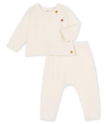 2-teiliges Baby-Set aus Baumwolle, Merinowolle und Polyester weiss Marshmallow