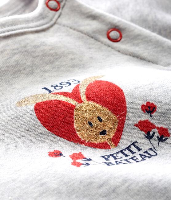Langärmeliges Baby-T-Shirt für Mädchen grau Beluga
