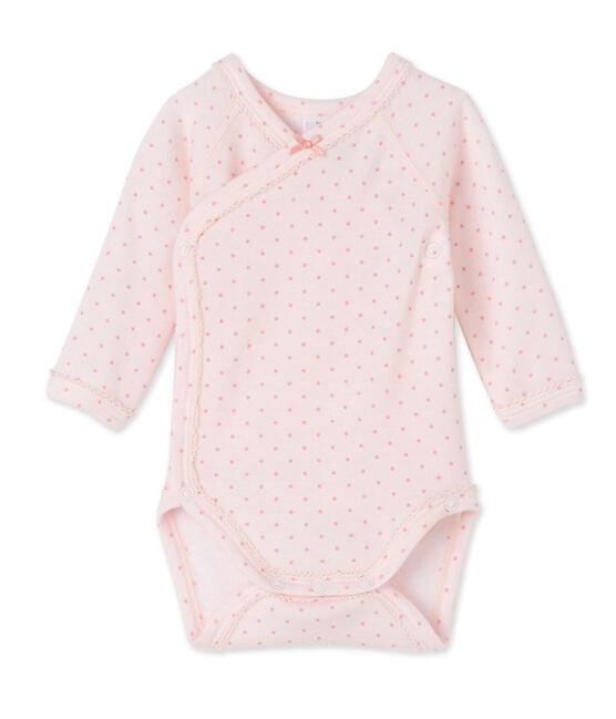 Langärmeliger Baby-Mädchen-Body aus Wolle/Baumwolle für Neugeborene rosa Vienne / rosa Gretel