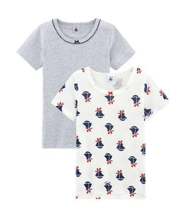 Duo aus kurzärmeligen T-Shirts für kleine Mädchen lot .