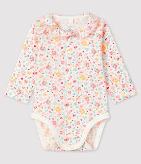 Geblümter Baby-Body für Mädchen mit Kragen aus Rippstrick weiss Marshmallow / weiss Multico