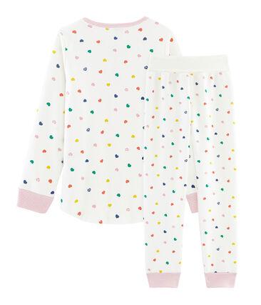 Molton-Pyjama für kleine Mädchen weiss Marshmallow / weiss Multico